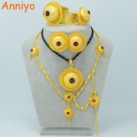 Anniyo 3 Color Stone Can Choose/Ethiopian Gold Color Jewelry Sets Hair Piece Forehead Chain Eritrea Wedding Gift Habesha #001117