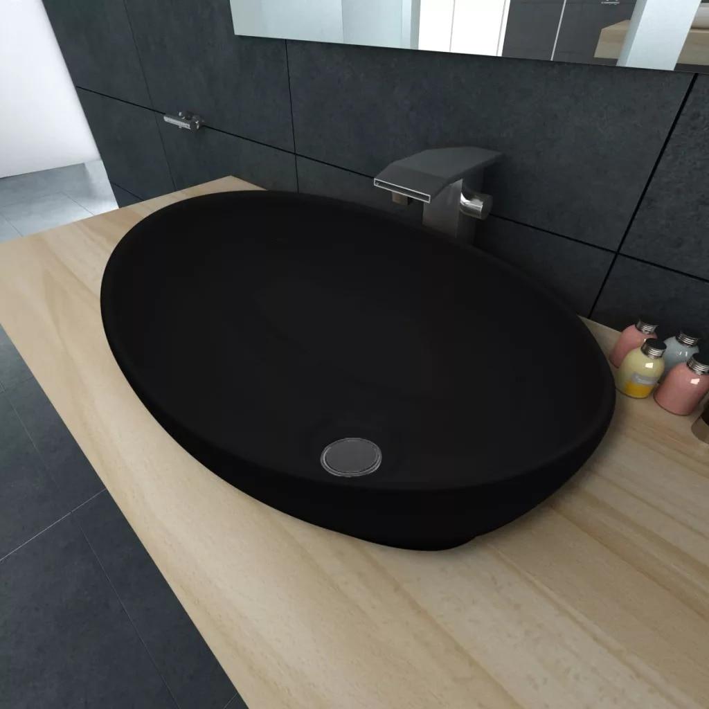 vidaXL Lavabo de Ba/ño Moderno Ovalado de Cer/ámica Negro Brillante Lavamanos