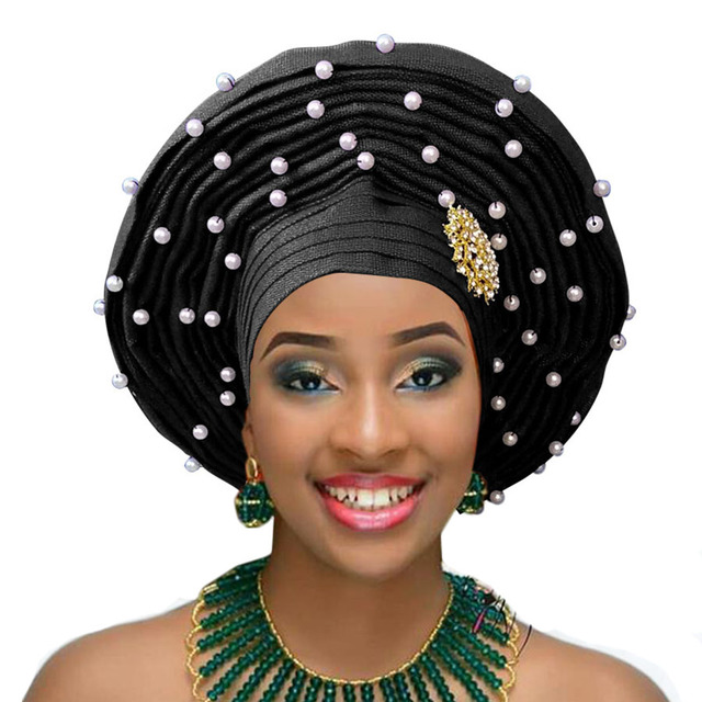 African  Aso Oke Headtie  Design With Beads  For Women