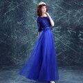 Мать Невесты Платья Новый 2017 Половина Рукава Элегантный Royal Blue Lace Длинное Вечернее Платье