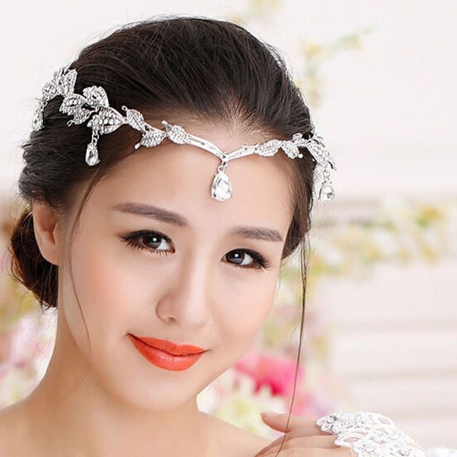 Sparkly Crystal Leaves Women Forehead Water Drop Head Chain Headpiece  Rhinestone Teardrop Tiara Bridal Wedding Hair Jewelry Gift aa74b5e8dffa