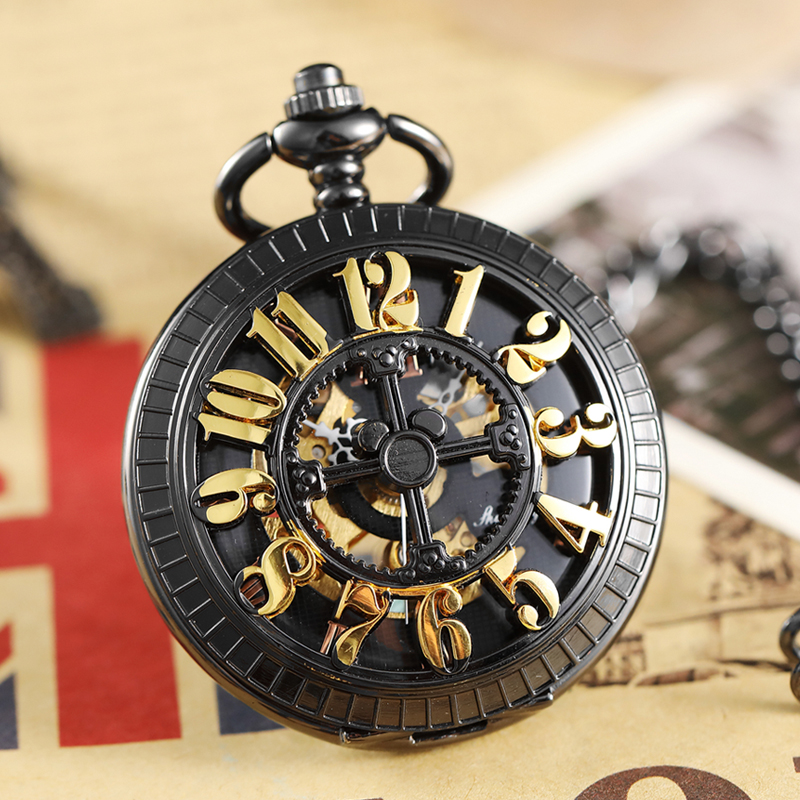 Retro Bronze Hollow Digital Number Dial Mechanical Pocket Watch Waist Chain Vintage Steampunk Classical Mens Clock Pocket Watch old bronze man father day train pocket watch gift quartz short waist chain wholesale buyer low price good quality retro vintage