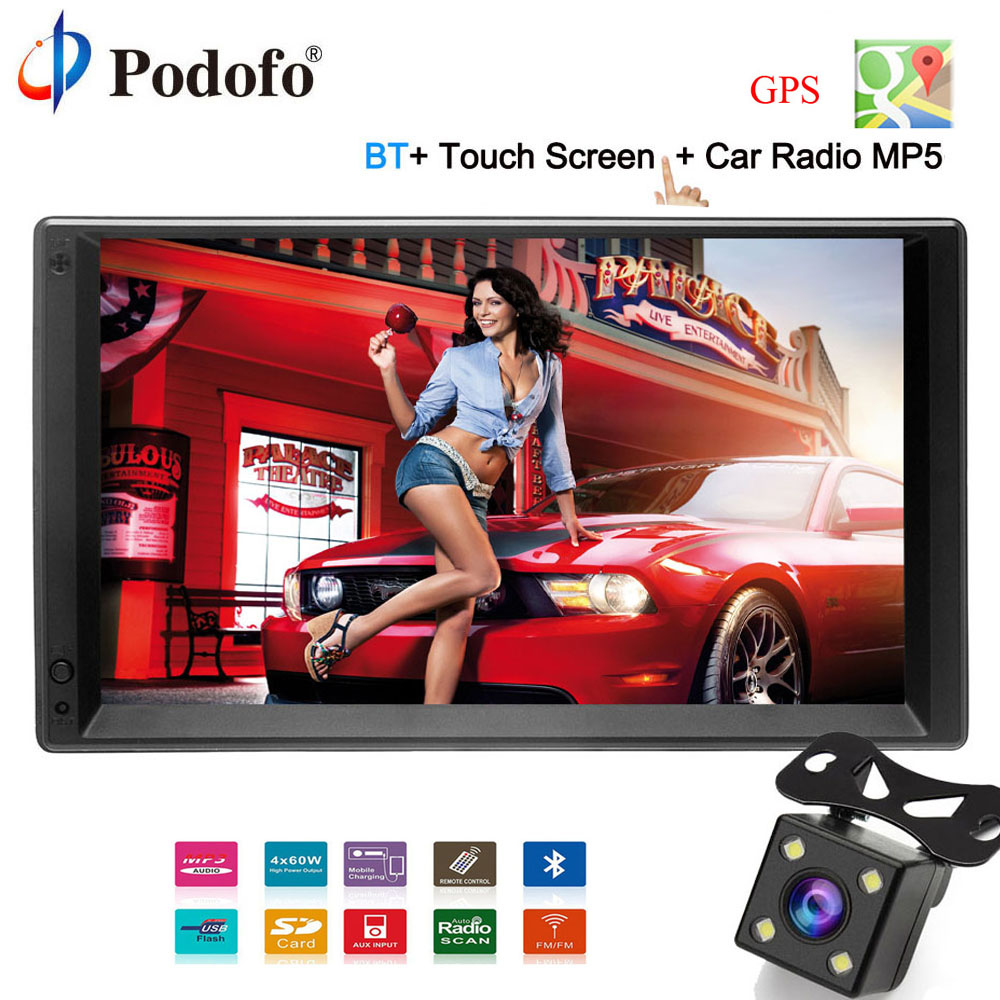 Podofo GPS android De Voiture Radio 2 Din universel GPS de Navigation Multimédia Lecteur MP5 7 2din voiture audio Stéréo WIFI FM Caméra De Recul