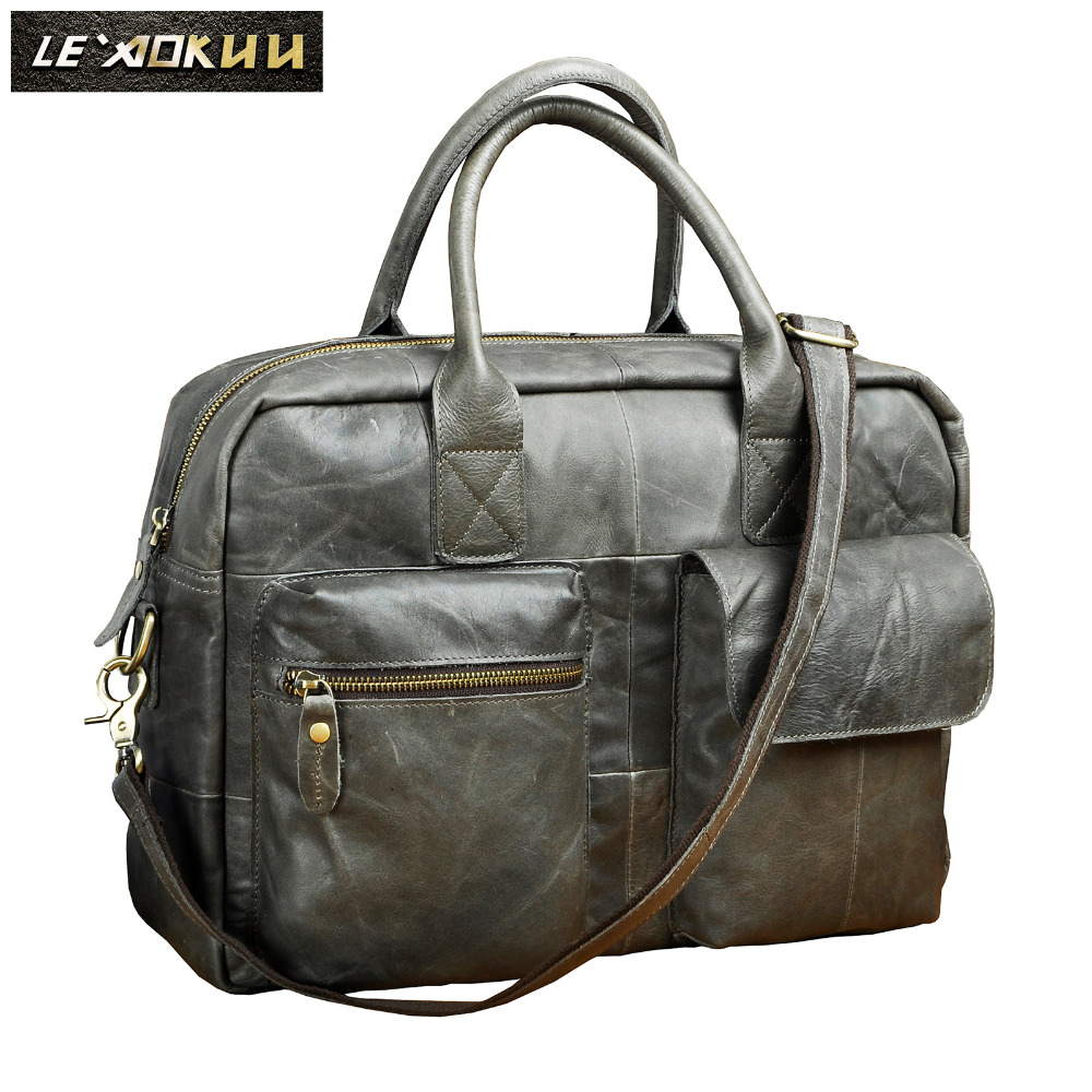 Men Quality Leather Travel Business Briefcase 16