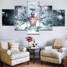 5 Pcs Buddha with Colorful Clouds Canvas Print Painting Picture Traditional Statue Pics Abstract Creative Wall Art Decor