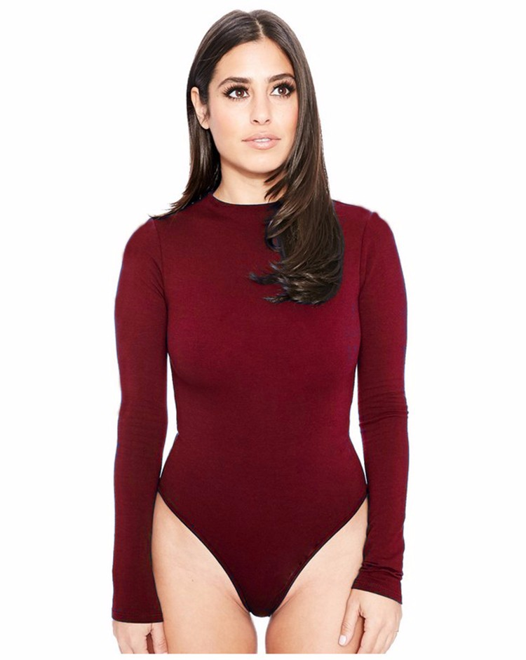 Free Shipping Sexy O Neck Jumpsuit Romper Women Long Sleeve Tops Casual Short Bodysuit