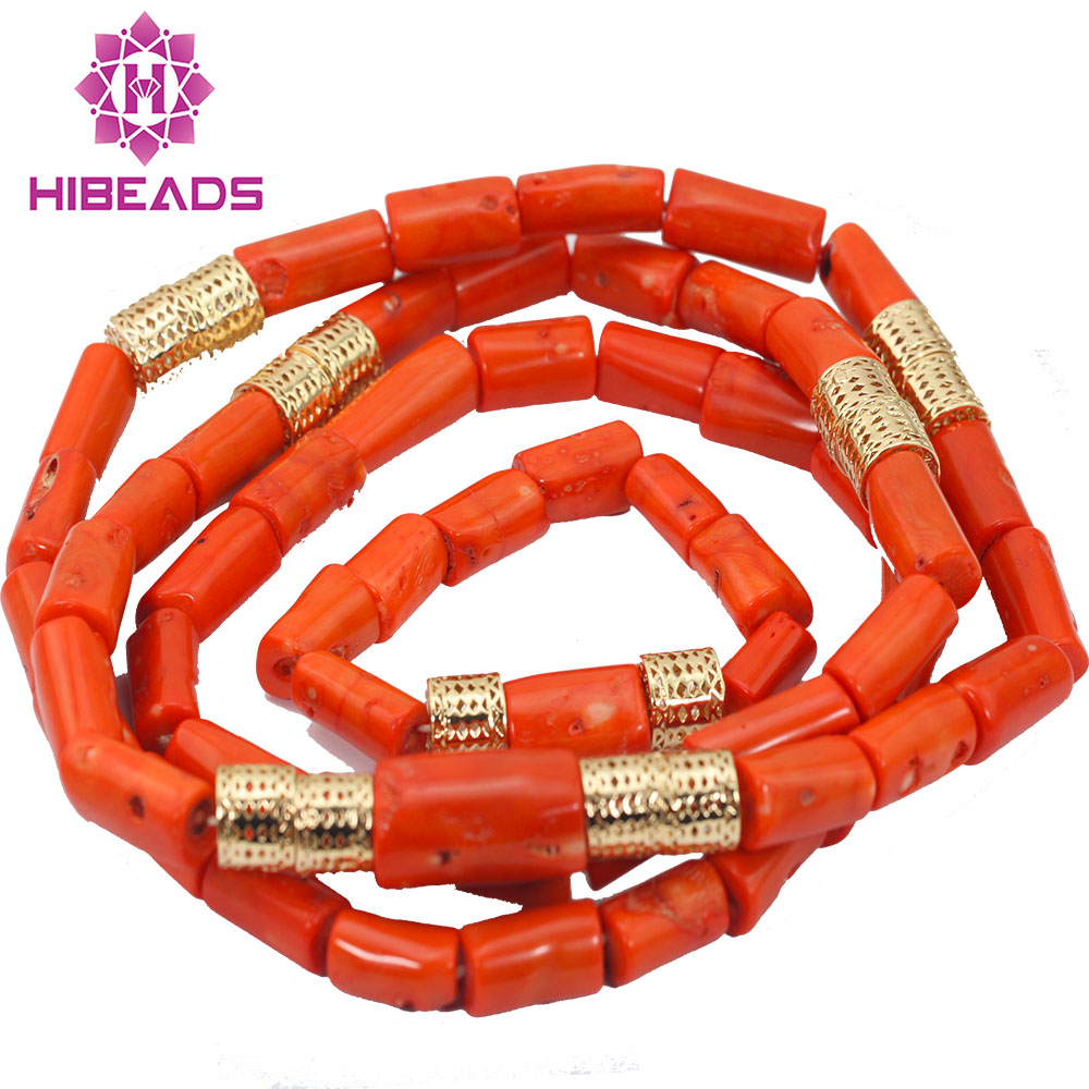 38231640fe8 2017 New Nigerian African Wedding Groom Beads Natural Coral Beads Set  Necklace Jewelry Set 54
