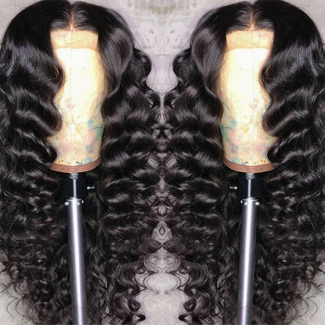 Peluca de onda suelta 13x6 parte profunda predesplumada 250% densidad de encaje frontal pelucas de cabello humano para mujeres negro brasileño peluca de pelo Remy Atina