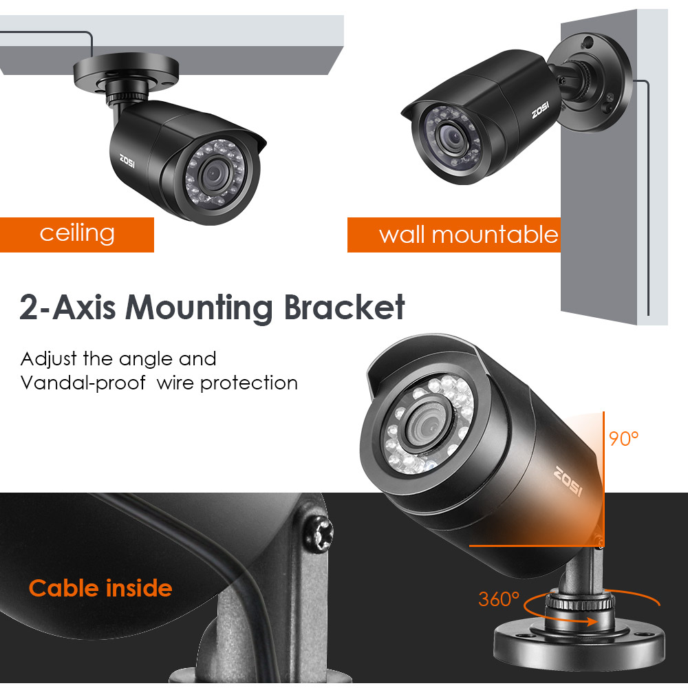 ZOSI 4pcs/lot 720p/1080p HD-TVI CCTV Security Camera ,65ft Night Vision ,Outdoor Whetherproof Surveillance Camera Kit