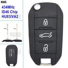 WALKLEE-clé télécommande, compatible avec Peugeot 208, 2008, 301, 308, 508, 434MHz, avec lame HU83 ou VA2