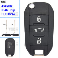 WALKLEE Remote Key Fit For Peugeot 208 2008 301 308 508 434MHz With HU83 Or VA2