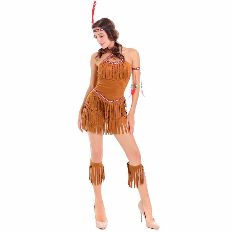 ... Adult Sexy Cosplay Pocahontas Matoaka Costumes Indians Squaw Cowgirl  Princess Costume Halloween Party Indians Dancing Clothing