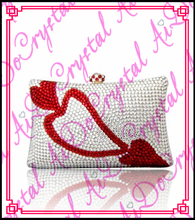Aidocrystal red and white heart shape new design women sweet wedding party clutch bag for bridal