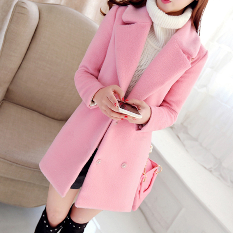 1d435fcd19f7c 2018 Autumn and winter coat women long thickened cashmere coat ladies pink  coat slim cocoon wool winter coats womens LA0063-in Wool   Blends from  Women s ...