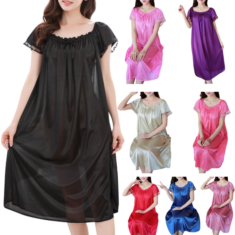 Womens Summer Lace Ice Silk Long Nightdress Short Sleeve Loose Plus Size Nightgown XL Solid Color Sleepshirt Home Clothes N9_D(China)