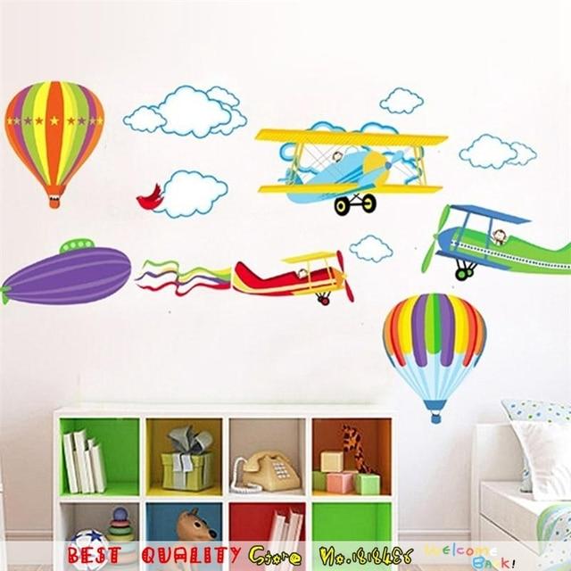 Cartoon Airplane Cloud Sky Home Decor Wall Sticker