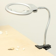 Large Lens Book Reading Light Lighted Lamp Top Desk Table Magnifier Magnifying Glass With Clamp LED Light