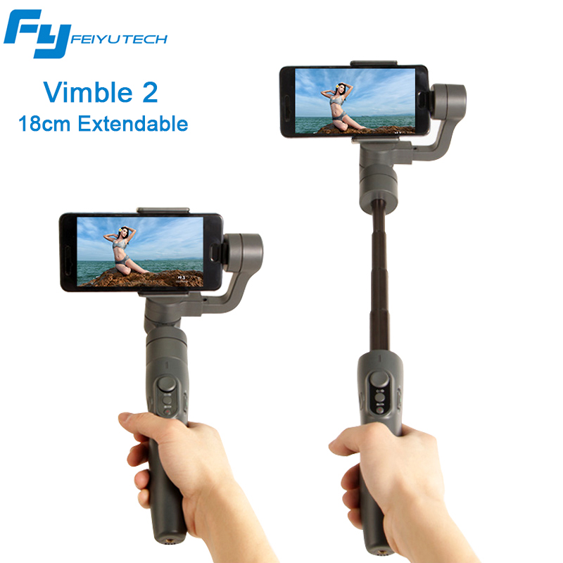 Feiyu Vimble 2 Smartphone Gimbal Stabilizer 3-axis Extended Rod Steadicam for iPhone Action Camera VS Zhiyun Smooth Q Smooth 4 feiyu vimble c mobile gimbal smartphone 3 axis stabilizer for gopro iphone sumsung huawei vs zhiyun smooth q with case f21723 4