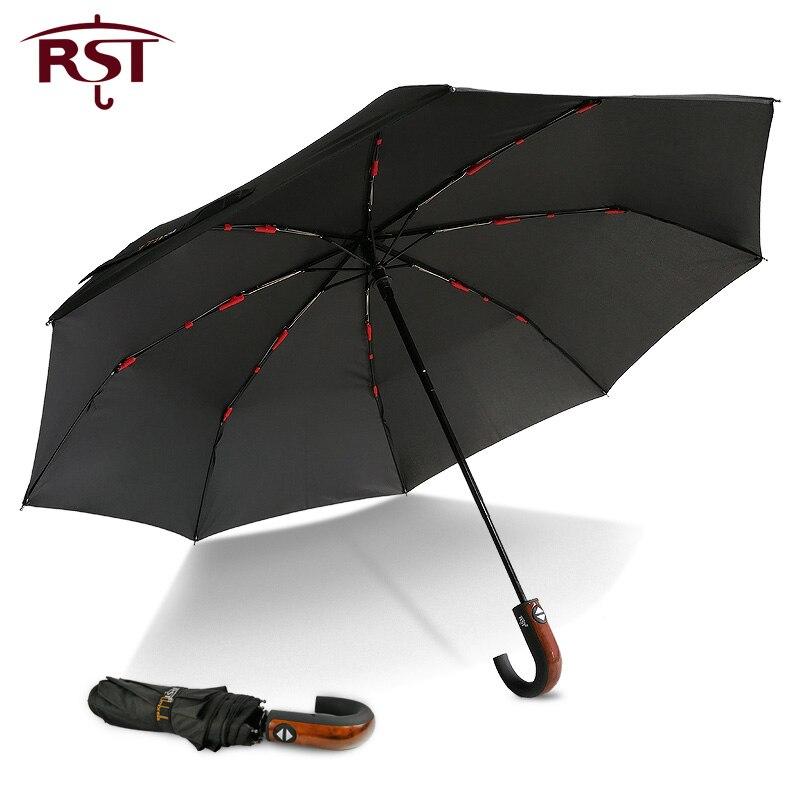 RST Classique Anglais style Parapluie Hommes Automatique Forte WindResistant 3 Pliage Parapluie Pluie D'affaires Mâle Qualité Parasol