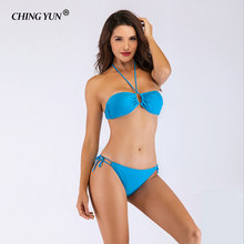 Bikinis Women Bandage Swimsuit 2019 Sexy Push Up Swimwear Low Waist Bathing Suit Halter Swim sexy swimwear women