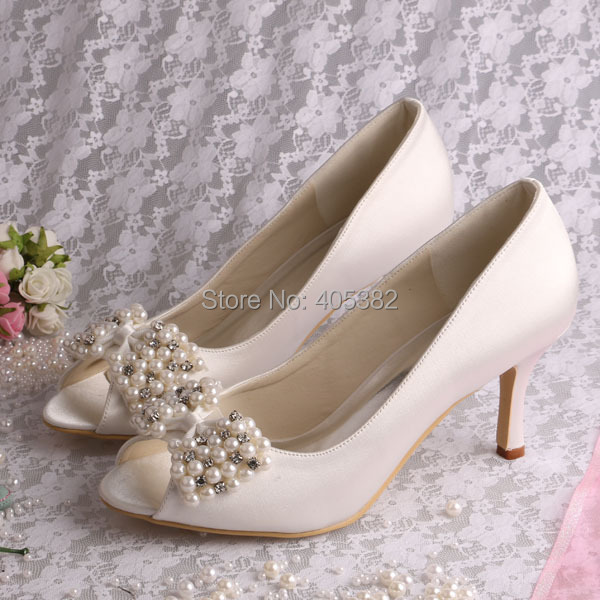 (20 Colors)Custom Cream Designer Brands Shoes Ivory Satin Open Toe with Pearl Bows Dropshipping