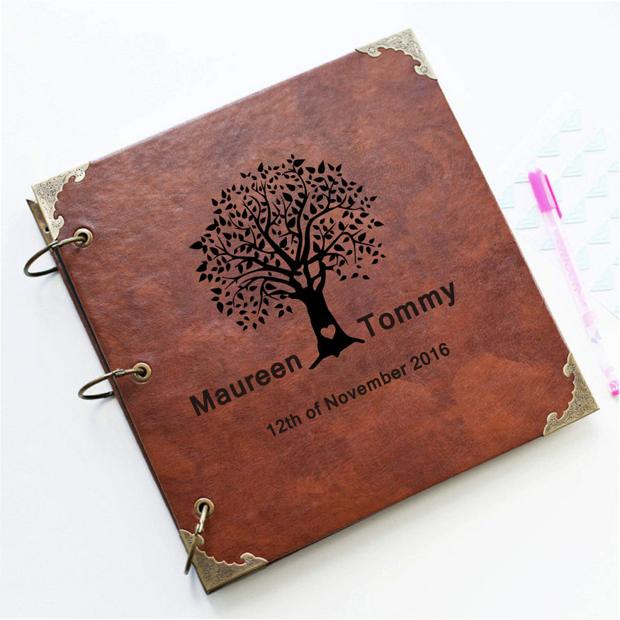 Custom Wedding tree Leather Guest Book /Personalized ...