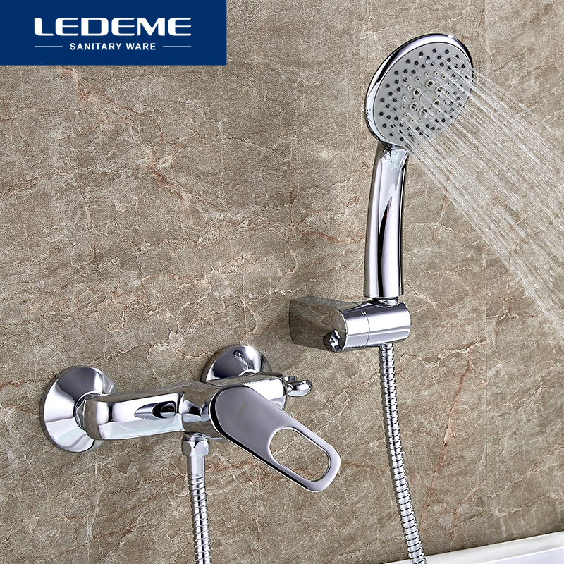 LEDEME Chrome Plated Bathroom Bathtub Faucets Mixer Shower Set Tap With Hand Brass Bathroom Bathtub Faucet Shower Head Set L2049 ledeme chrome plated bathroom bathtub faucets mixer shower set tap with hand brass bathroom bathtub faucet shower head set l2049