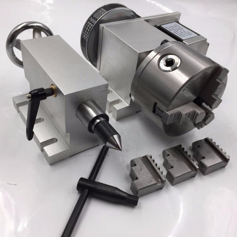 Nouveau 3 Jaw Chuck Électriques K11-100 Creux Arbre CNC Axe Rotatif + Poupée-5 100mm 4th Un axe 6:1 Creux Arbre pour CNC Routeur