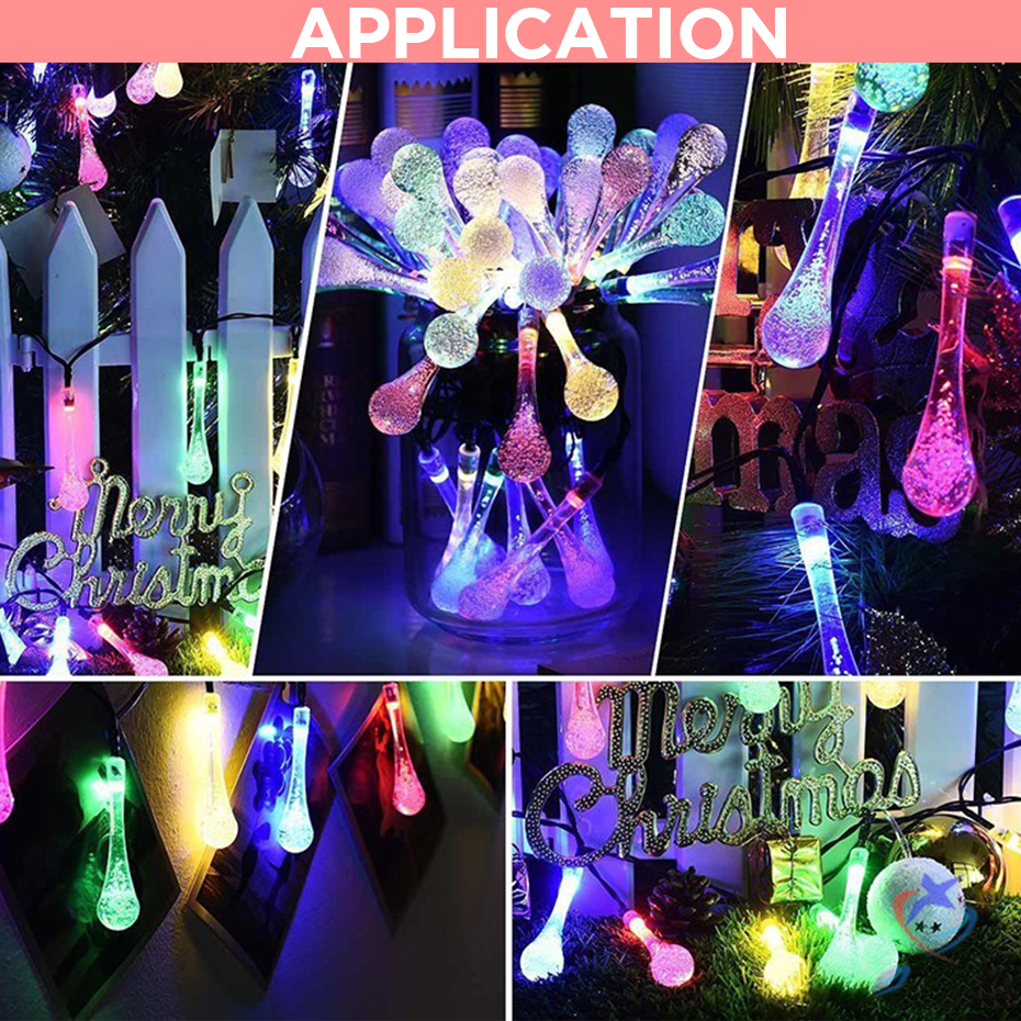LED Solar String Lights 30 LEDs Waterproof 8 Modes Water Drop String Fairy Light Christmas Party Decoration Outdoor Lighting