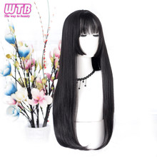 WTB Long Straight Hair Cosplay Black Synthetic Wigs for Women Fashion Female Party Christmas Wigs(China)