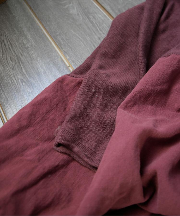 Col Lin Circulaire La fuchsia Lâche Noir D916 Vêtements Patchwork Coton Longue Femmes Tricoté 2018 army Robe Robes Taille Green Manches Plus qztyvA