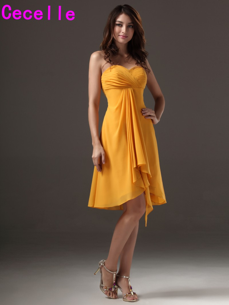 Simple Yellow A line Sweetheart Short Chiffon Beach Bridesmaid Dresses  Gowns Wedding Party Dresses Cheap Rustic Bridesmaid Robes-in Bridesmaid  Dresses from ... 57f186367e1e