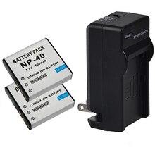 2×1500 mah np-40 batería de la cámara + cargador para casio cnp40 ex-z30/z40/z50/z55/z57/z750 ex-p505/p600/p700 pm200 cámara batería