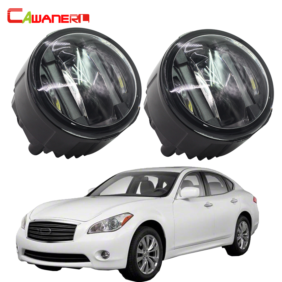 Cawanerl 2 Pieces LED Left + Right Fog Light DRL Daytime Running Lamp 12V Car Accessories For Infiniti M37 2011 2012 2013 cawanerl 2 pieces car styling led fog light daytime running lamp drl 12v for infiniti g37 sport 3 7l v6 gas 2011 2012 2013