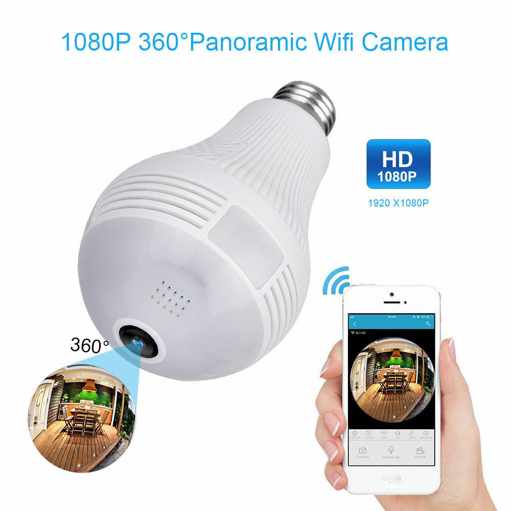 HD Wifi Cam-Light Bulb Video-Camera 360 Panoramic Home-Security Support Tf-Card
