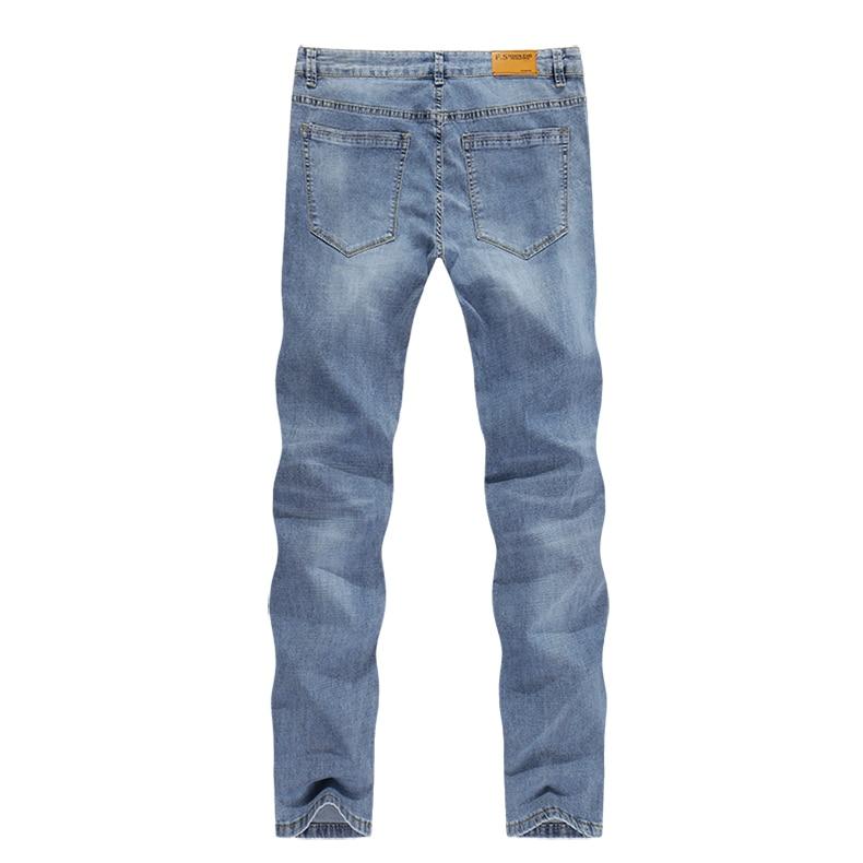 2020 Jeans Men Fashion Business Casual Straight Slim Fit Ultrathin Breathable Stretch Retro Blue Summer Denim Pants Plus Size 40 12