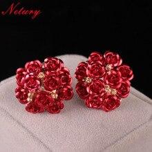 ФОТО netury women fashion flowes rose earrings romantic plant cute pink girl stud earrings colorful casual noble career lady jewelry