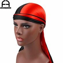 Luxury Mens Silk Patchwork Durags Bandanas Turban Hat Satin Durag Biker Headwear Headband Hair Accessories
