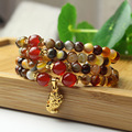 Pixiu Good Luck Charm Gifts Agate Layered Tibetan Jewelry Buddhist Mala Rosary DIY Design Agate Bead Animal Bracelet for Unisex