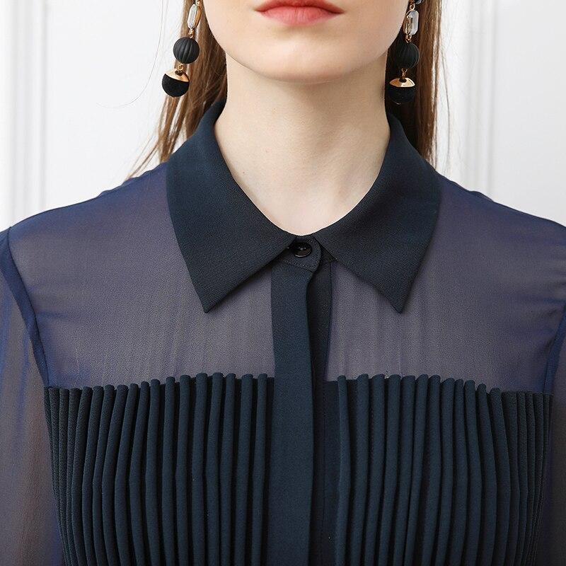 Automne Bleu Piste Longue Maille Robes Chemise Sexy Soie Marine Plus Taille Robe Lourde A112 Casual La Vintage Manches Solide Femmes Voa xaAUwO4qx