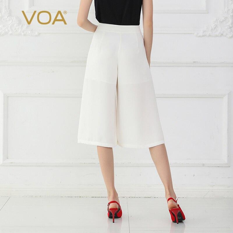 Alta Básicos La Ancho Cintura Pierna Verano De K712 Pantalones Mujeres Tamaño Gran Voa Suelto Blanco Seda qwzPCnxqSI