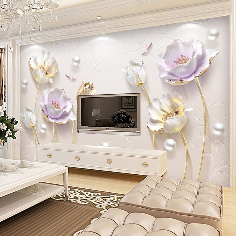 3d Stereo Relief Jewelry Elegant Tulip Backdrop Wallpaper Modern