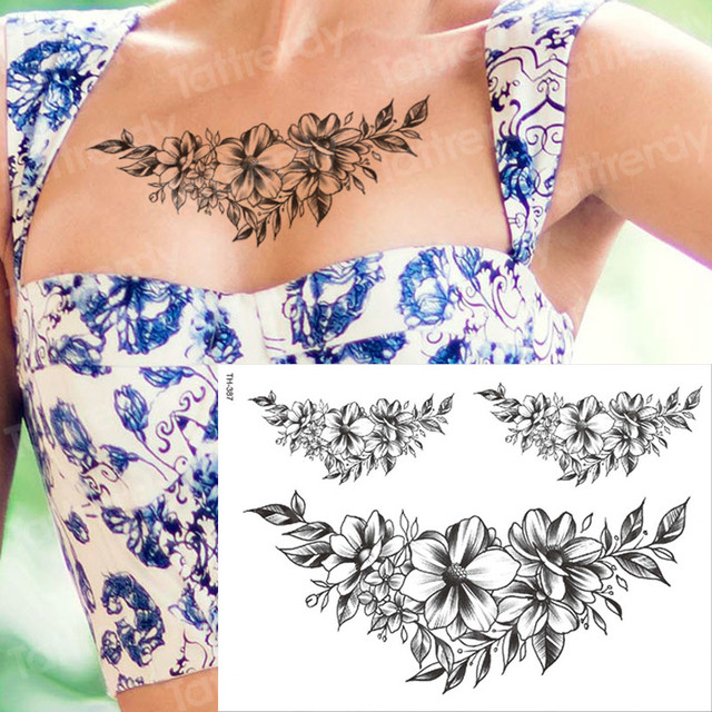 temporary tattoo black flower tattoo sleeves water transfer tatoo sticker peony rose tattoos body art sexy tatoo girl arm tatto 1