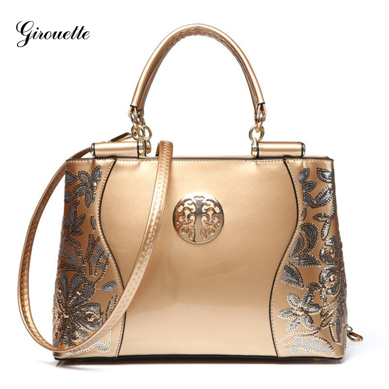 GIROUETTE Luxury Handbags Women Bags Designer Famous Brand Women Bag Embroidery Sequined Chains Patent Leather Messenger Bag new 2017 women handbags sequery embroidery luxury patent leather famous brand designer shoulder bags women messenger bags