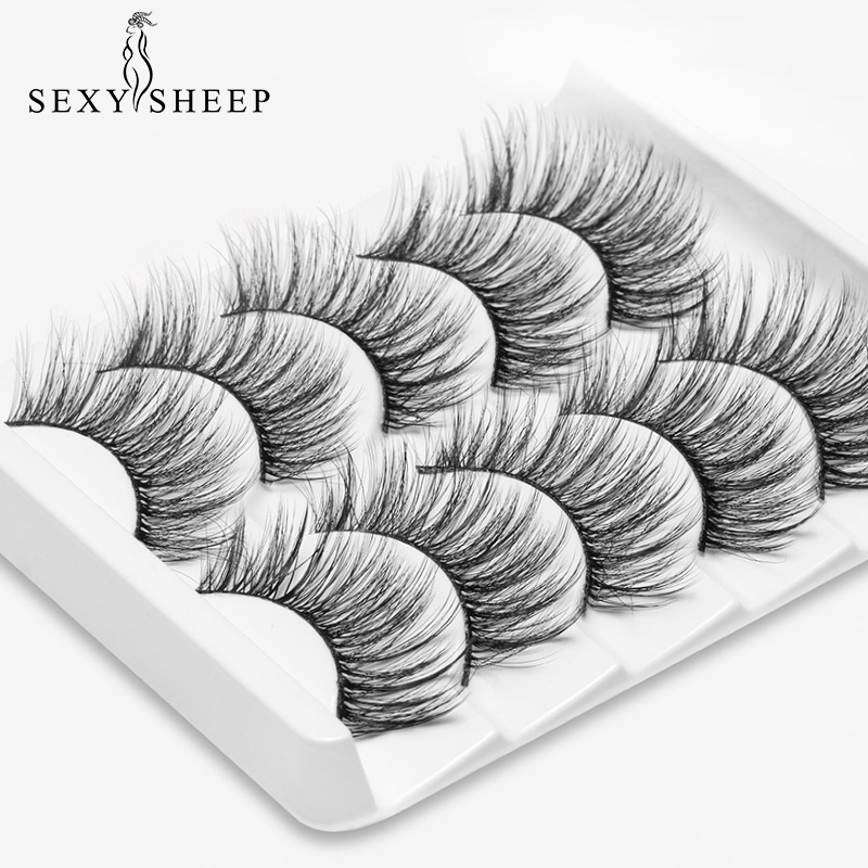 SEXYSHEEP 2/5 Pairs Mixing Styles 3D Faux Mink Hair False Eyelashes Wispy Thick Lashes Handmade Soft Eye Makeup Extension Tools