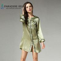 Woman Sleep Wear 100% Pure Silk Long Sleepshirt Night Shirts Home Dresses Size M L XL