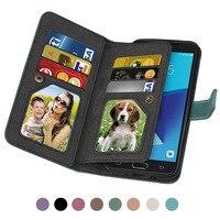 9 Card Leather Photo Frame Wallet Phone Case For Samsung J3 J5 J7 J9 Color Magnetic