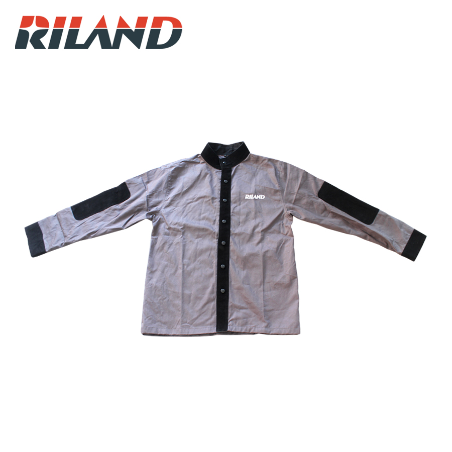 RILAND Leather Welding Coat Protective Clothing Apparel Suit Welder Safety Cloth