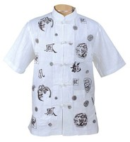 Summer New White Chinese Men S Cotton Shirt Top Short Sleeve Cool Shirt Absorb Sweat Shirt