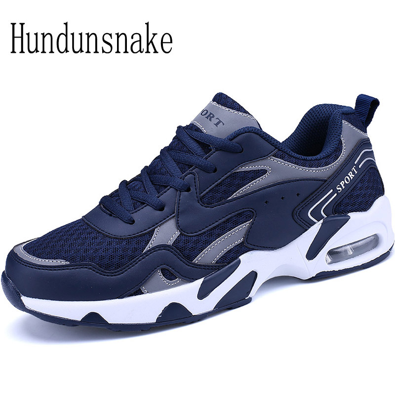 Hundunsnake Men's Sneakers Blue Mesh Breathable Cushioning Male Shoes Adult Sports Running Shoes For Men Krasovki Gumshoes T299